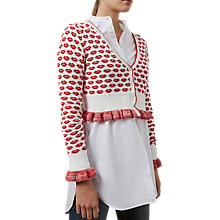 Buy French Connection Kiss Knit Cardigan, Summer White/Blazer Red Online at johnlewis.com