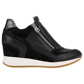 Geox Nydame Wedge Heel Zip Up Trainers Black