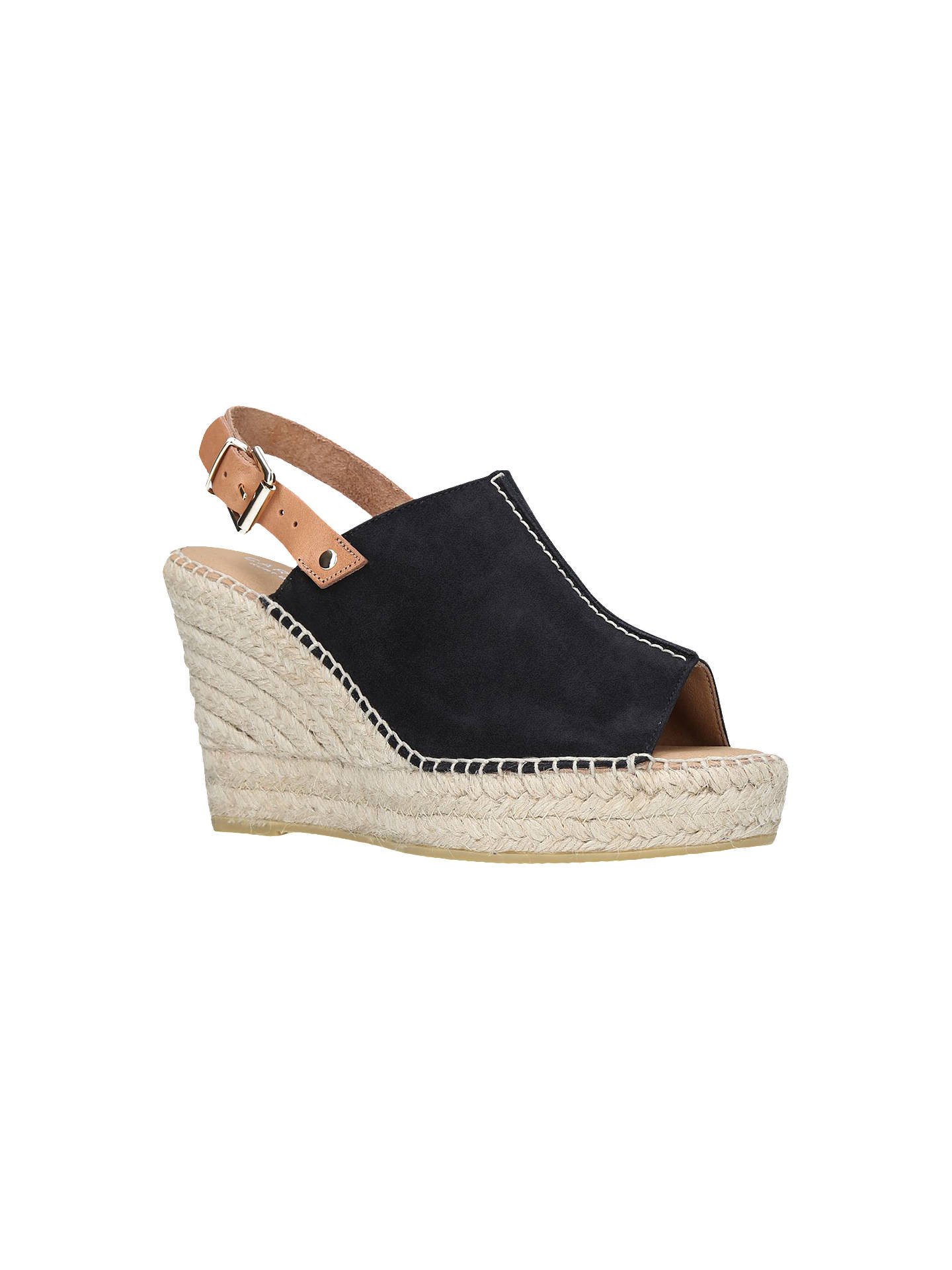 BuyCarvela Kloud Wedge Heel Sandals, Black Suede, 3 Online at johnlewis.com