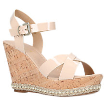 Buy Carvela Kabby Wedge Heel Sandals, Nude Leather Online at johnlewis.com