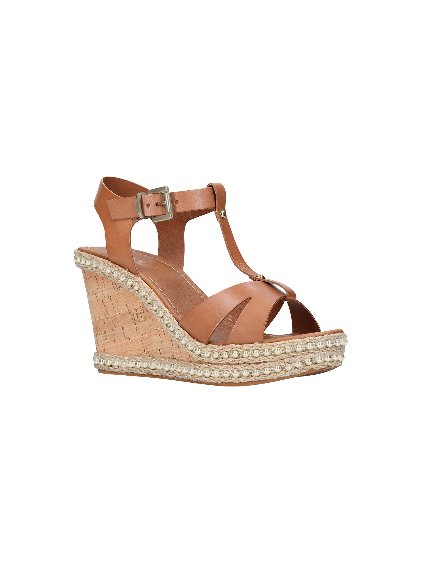 Buy Carvela Karoline T-Bar Wedge Heel Sandals, Tan Leather, 3 Online at johnlewis.com
