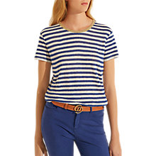Buy Gerard Darel Pure Linen Polly T-Shirt, Blue Online at johnlewis.com