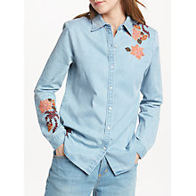 Buy Maison Scotch Embroidered Shirt, Blue Online at johnlewis.com