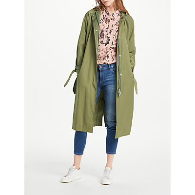 Maison Scotch Hooded Trench Coat, Army