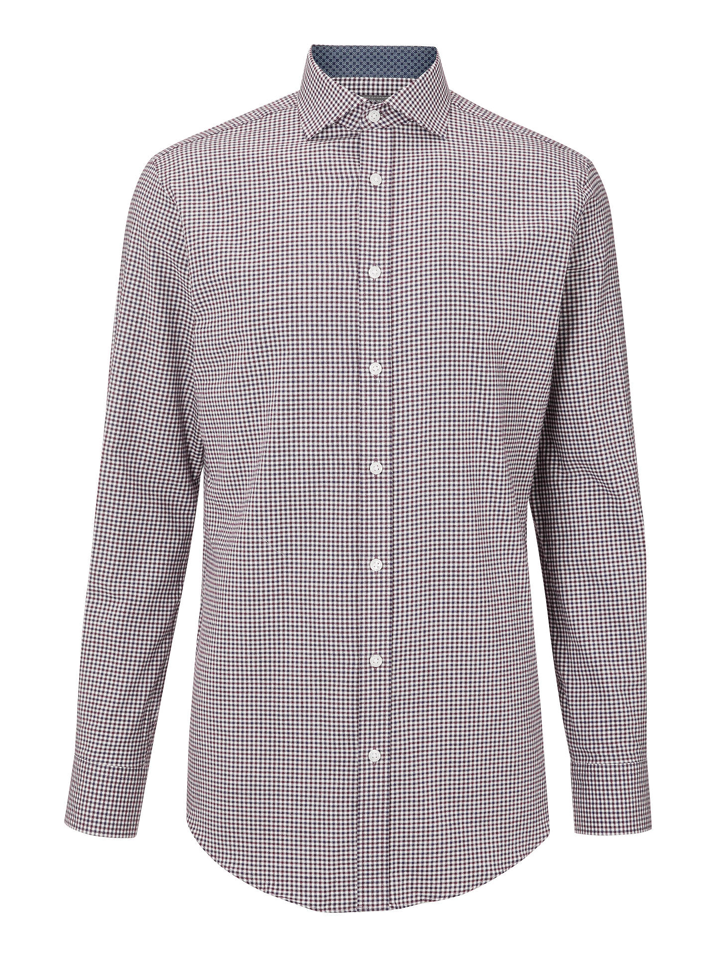 Buy John Lewis & Partners Gingham Check Brushed Cotton Shirt, Navy/Burgundy, 15 Online at johnlewis.com