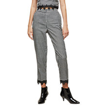 Buy Miss Selfridge Check Lace Hem Trousers, Black/White Online at johnlewis.com