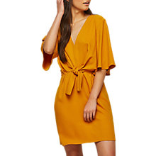 Buy Miss Selfridge Tie Front Dress, Ochre Online at johnlewis.com