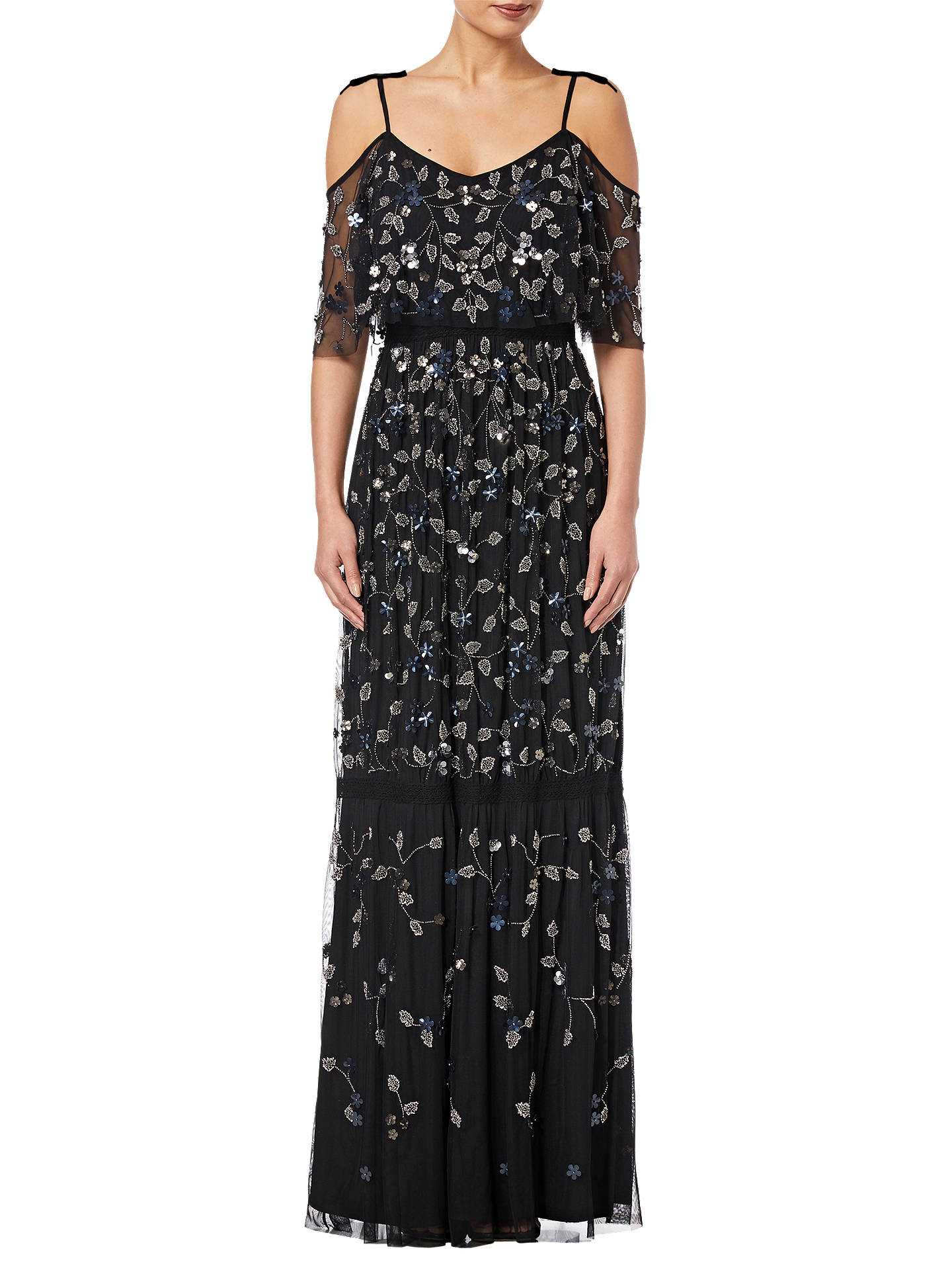BuyAdrianna Papell Beaded Long Dress, Black, 8 Online at johnlewis.com