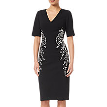 Buy Adrianna Papell Crepe Embroidered Dress, Black Online at johnlewis.com