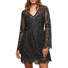 Buy Miss Selfridge Bell Sleeve Lace Dress, Black Online at johnlewis.com
