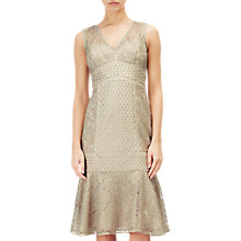 Buy Adrianna Papell Short Metallic Lace Dress, Gold Online at johnlewis.com