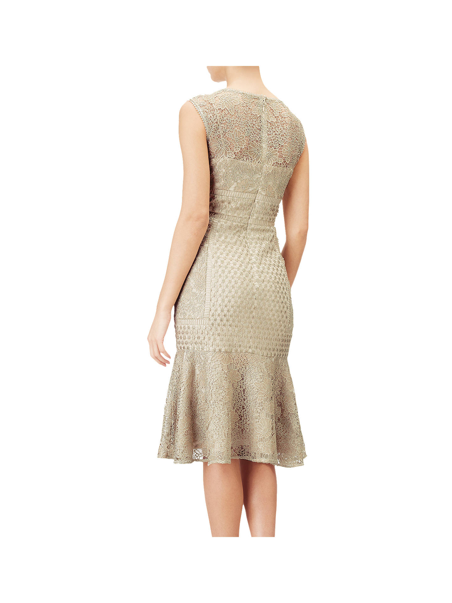 BuyAdrianna Papell Short Metallic Lace Dress, Gold, 14 Online at johnlewis.com