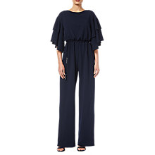 Buy Adrianna Papell Long Crepe Jumpsuit, Midnight Online at johnlewis.com