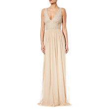 Buy Adrianna Papell Plus Beaded V-Neck Dress, Champagne Online at johnlewis.com