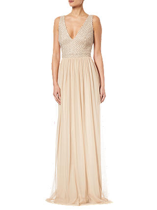 Buy Adrianna Papell Plus Beaded V-Neck Dress , Champagne, 20 Online at johnlewis.com