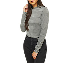 Buy Miss Selfridge Check Funnel Neck Crop Top, Grey Online at johnlewis.com
