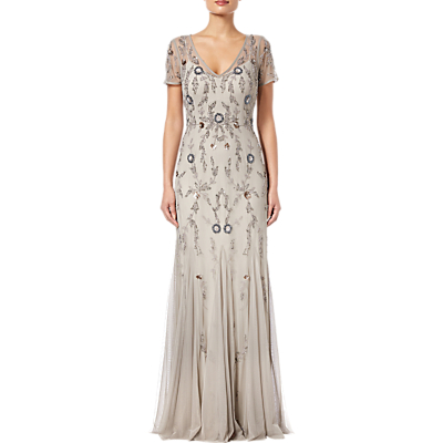 Adrianna Papell Beaded Long Dress, Platinum Multi