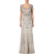 Buy Adrianna Papell Beaded Long Dress, Platinum Multi Online at johnlewis.com