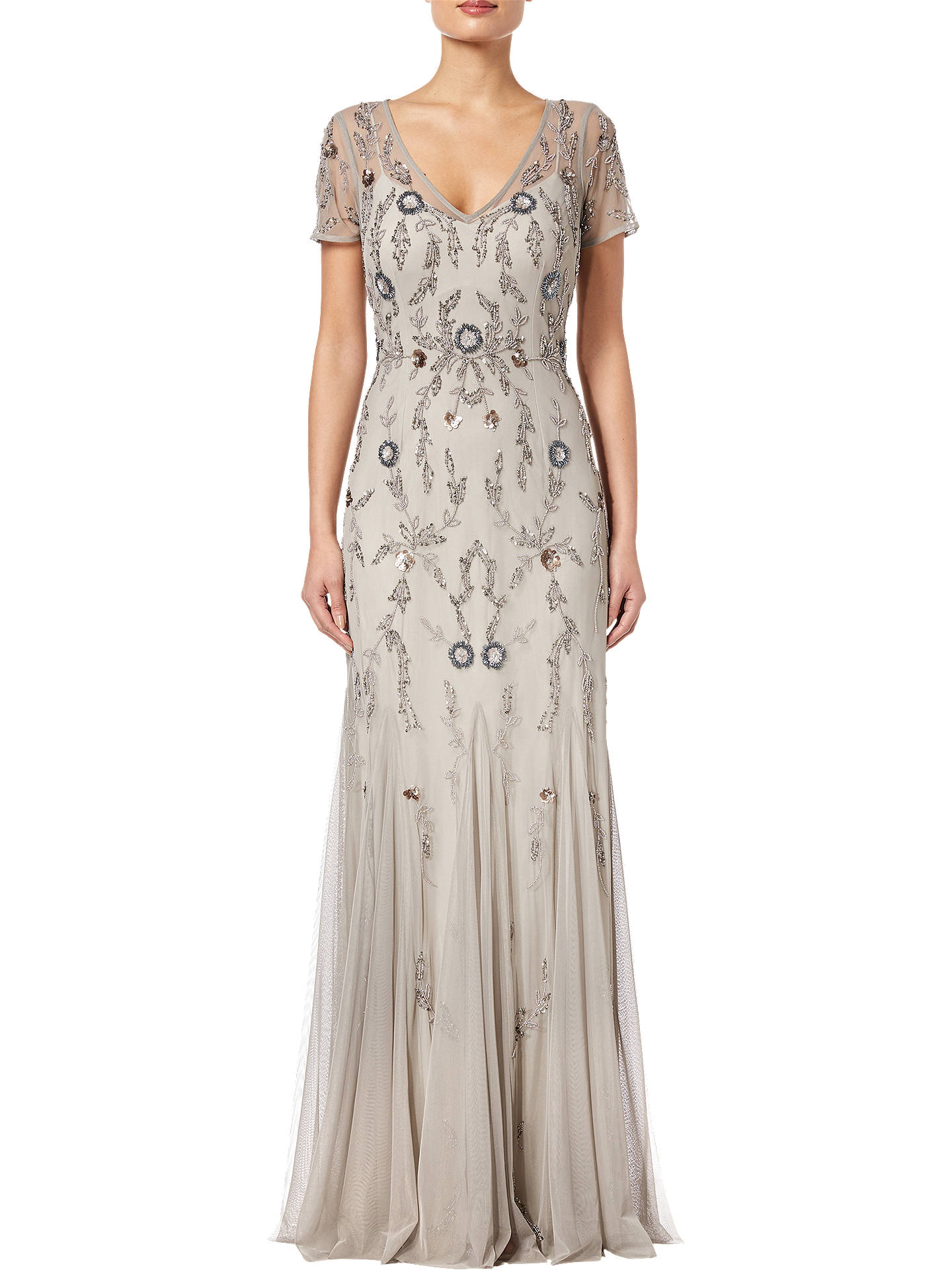 Buy Adrianna Papell Beaded Long Dress, Platinum Multi, 8 Online at johnlewis.com
