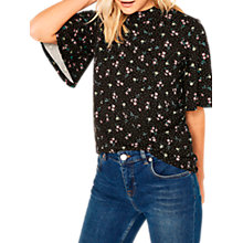 Buy Oasis Ditsy Print Angel Sleeve Top, Multi Online at johnlewis.com