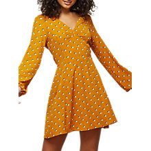 Buy Miss Selfridge Holly Spot Tea Dress, Ochre Online at johnlewis.com