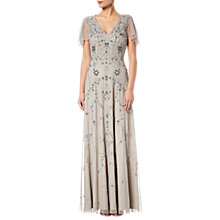 Buy Adrianna Papell Long Beaded Dress, Platinum Online at johnlewis.com