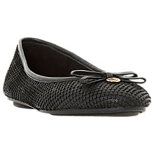 Buy Dune Harps Ballet Pumps, Black Reptile Leather Online at johnlewis.com