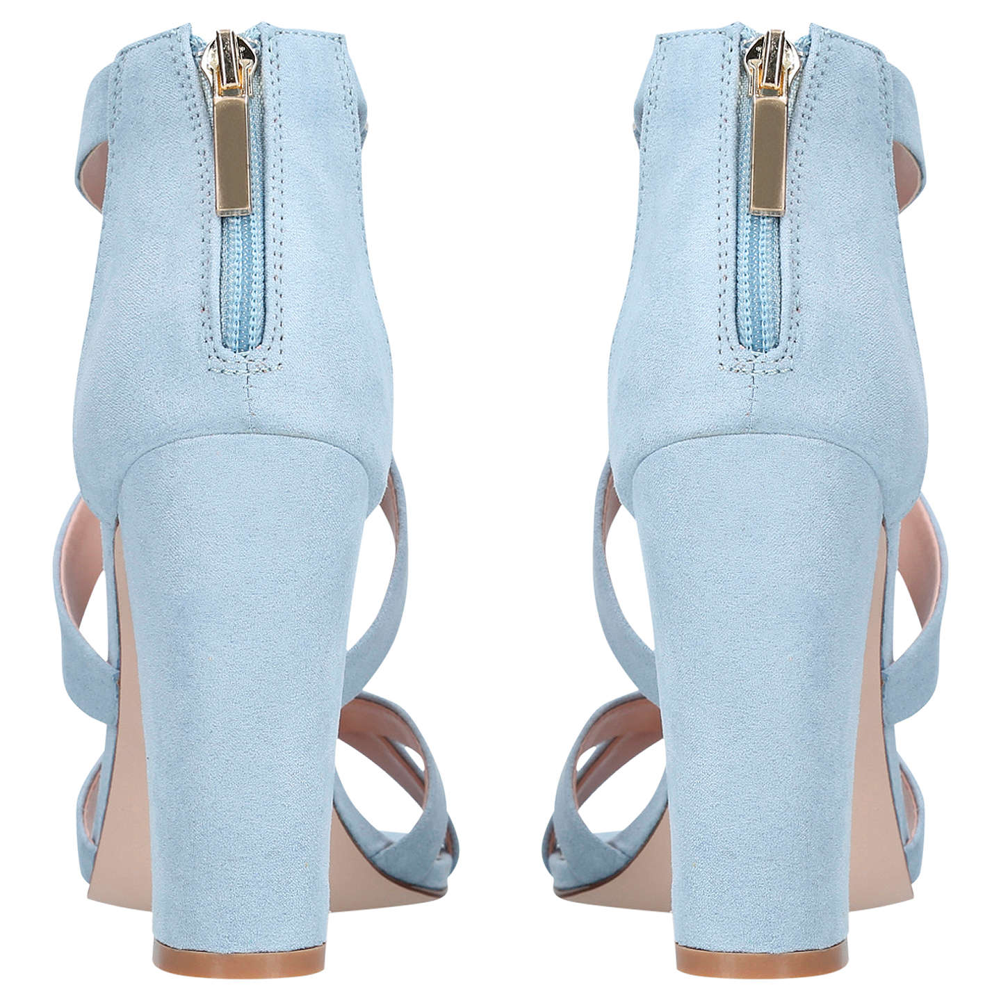 BuyMiss KG Faun Cross Strap Block Heeled Sandals, Blue Suedette, 5 Online at johnlewis.com