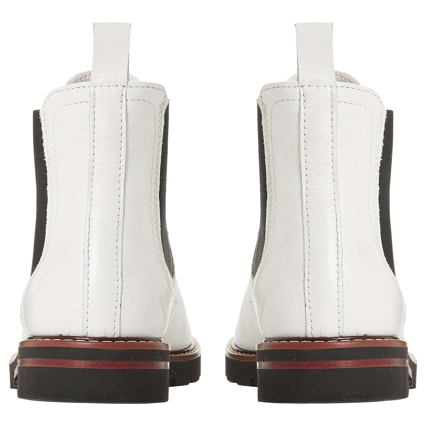 BuyDune Quart Ankle Chelsea Boots, White Leather, 3 Online at johnlewis.com