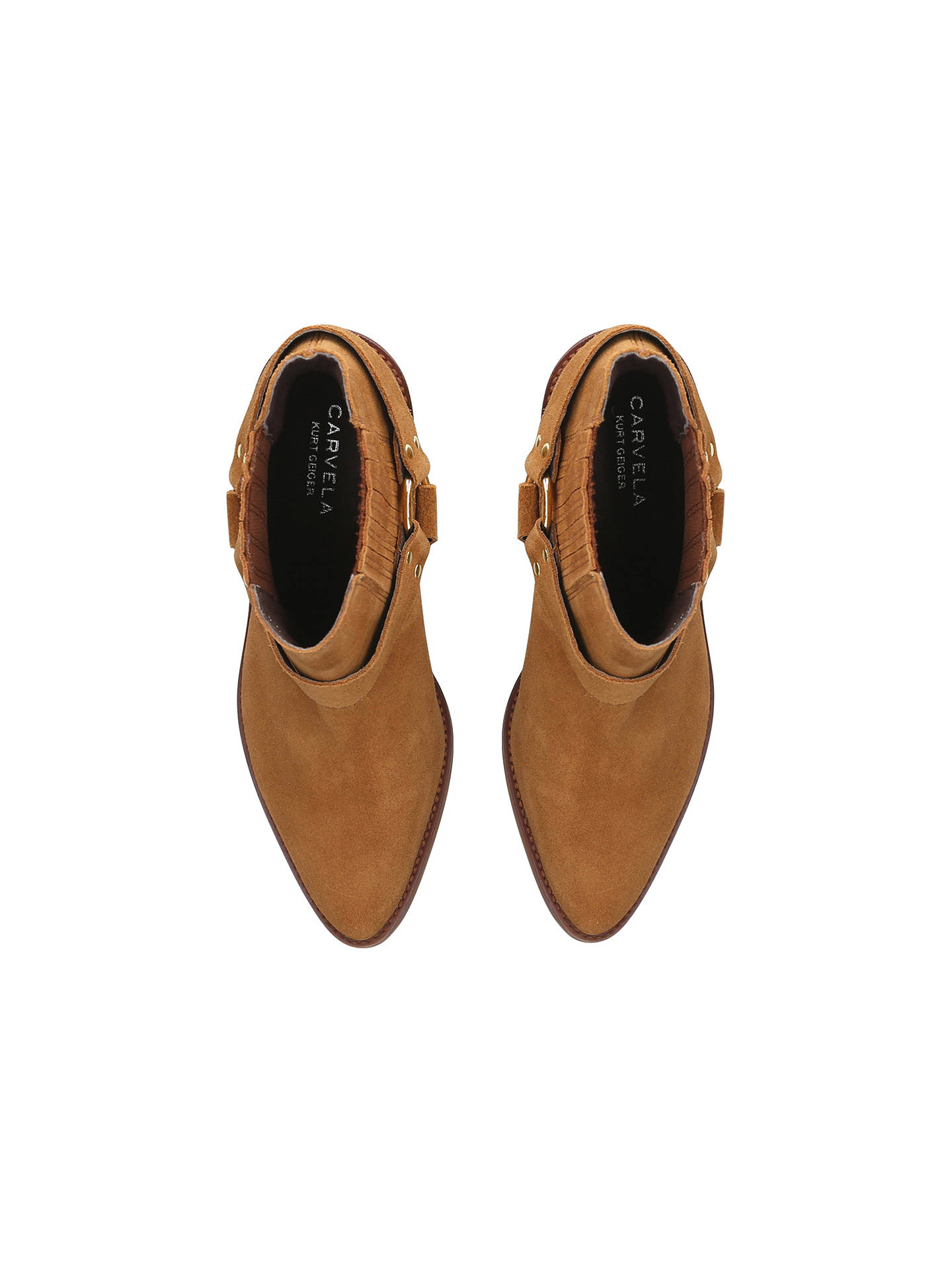 BuyCarvela Sheriff Block Heel Ankle Boots, Tan Suede, 3 Online at johnlewis.com
