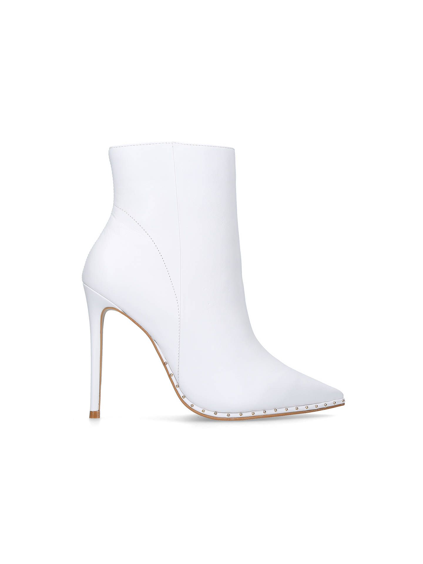 Buy Carvela Spectacle Stiletto Heeled Pointed Toe Ankle Boots, White Leather, 3 Online at johnlewis.com