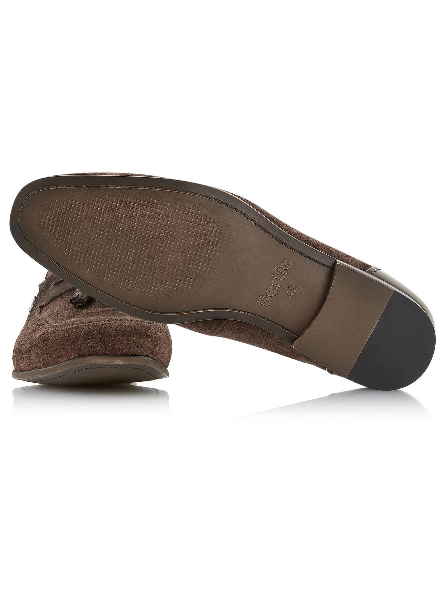 Buy Bertie Propoganda Suede Tassel Loafers, Brown, 6 Online at johnlewis.com