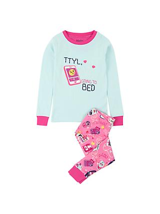 Hatley Girls' Talk To You Later Organic Cotton Pyjamas, Blue/Pink