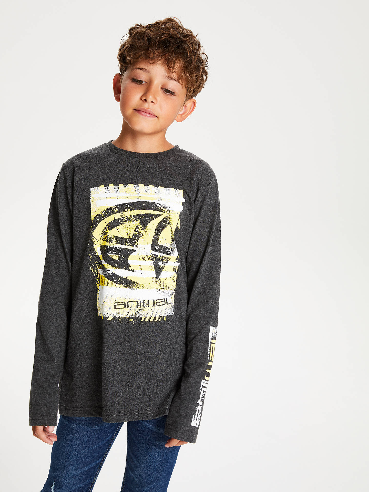 Buy Animal Boys' Long Sleeve Board T-Shirt, Charcoal, 7-8 years Online at johnlewis.com