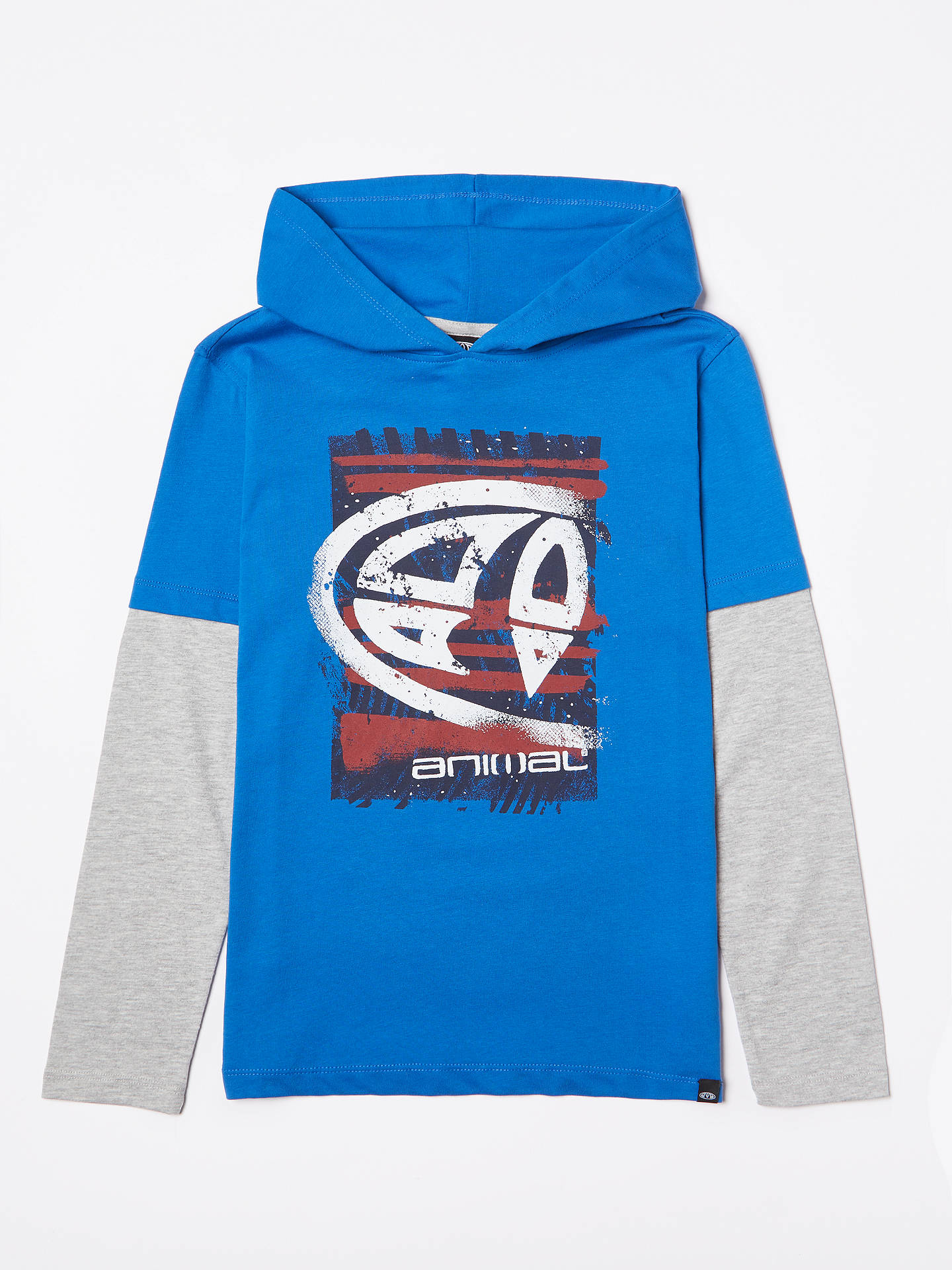 Buy Animal Boys' Fargo Hooded Long Sleeve T-Shirt, Blue, 13-14 years Online at johnlewis.com