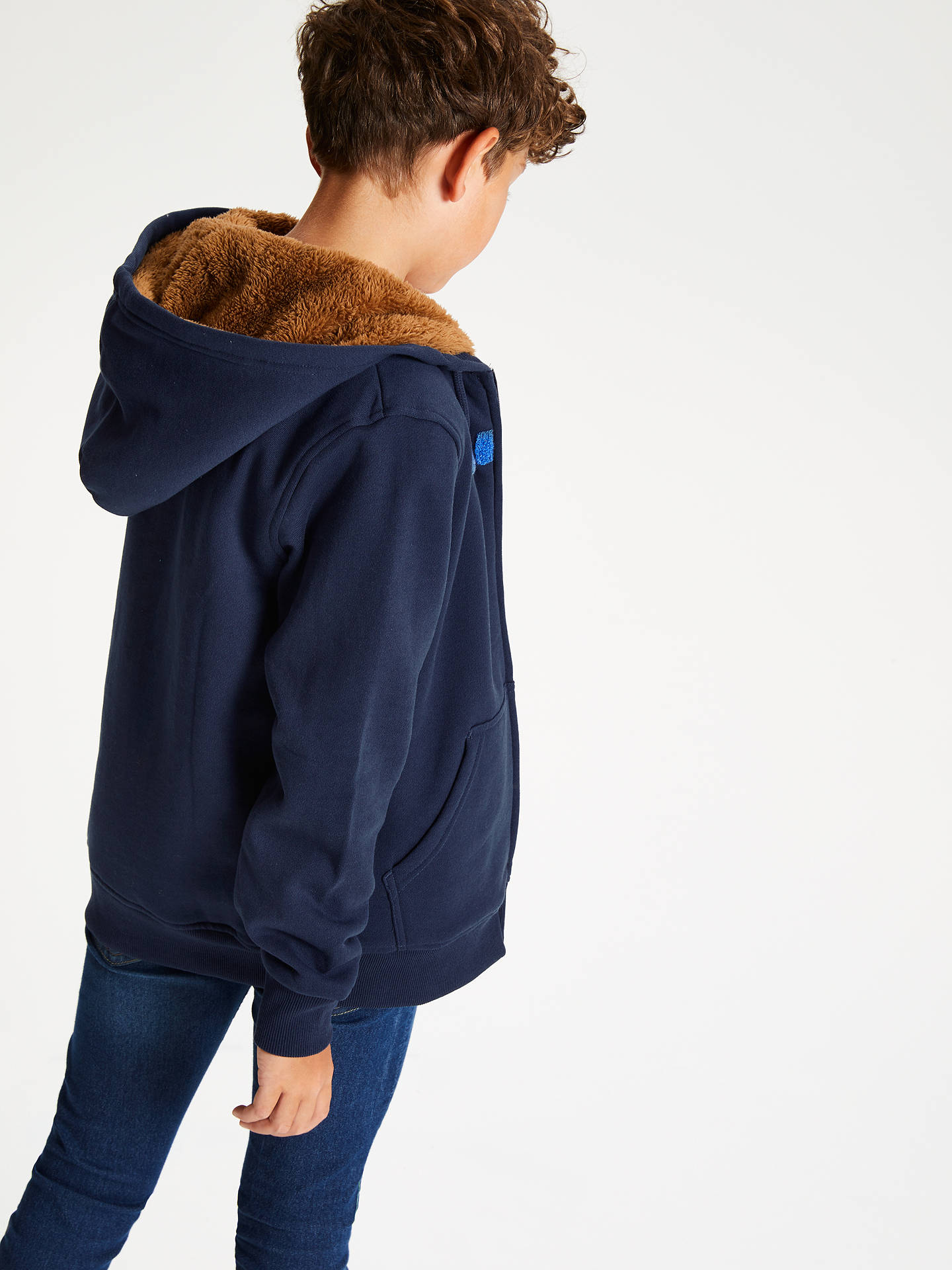 Buy Animal Boys' Scout Sherpa Lined Hoodie, Navy, 7-8 years Online at johnlewis.com