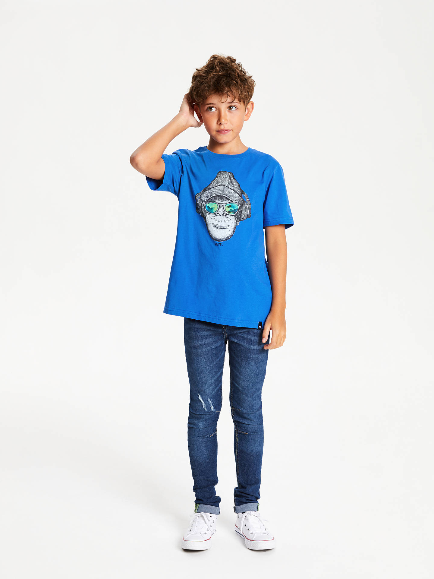 Buy Animal Boys' Chimp Graphic T-Shirt, Blue, 7-8 years Online at johnlewis.com
