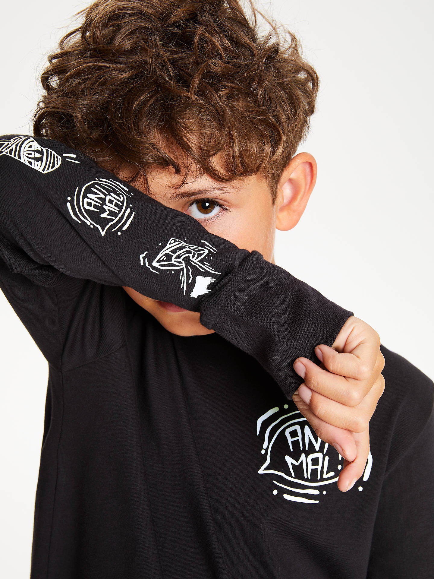 BuyAnimal Boys' Comet Print T-Shirt, Black, 7-8 years Online at johnlewis.com