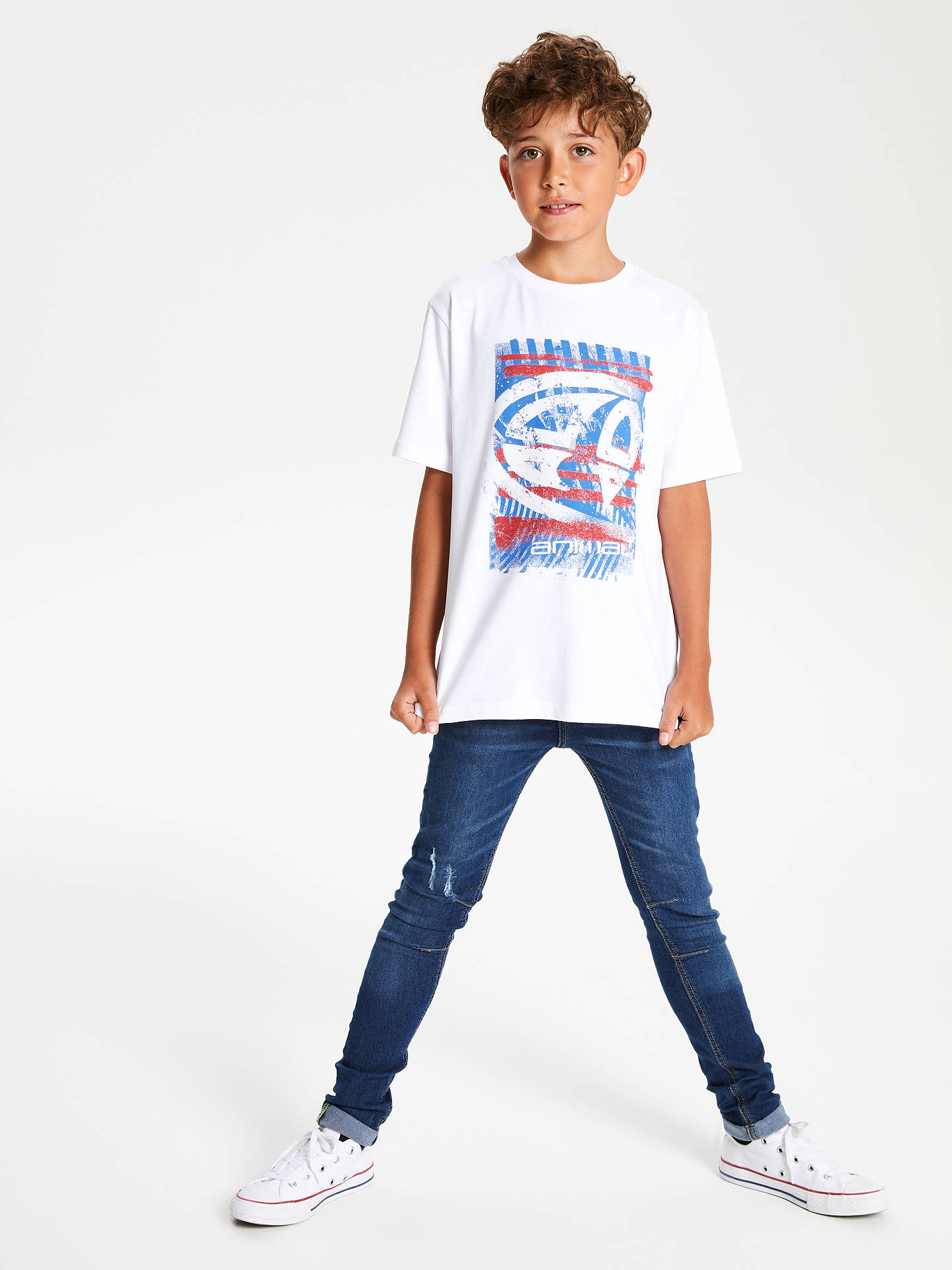 BuyAnimal Boys' Short Sleeve Tabo Graphic T-Shirt, White, 7-8 years Online at johnlewis.com