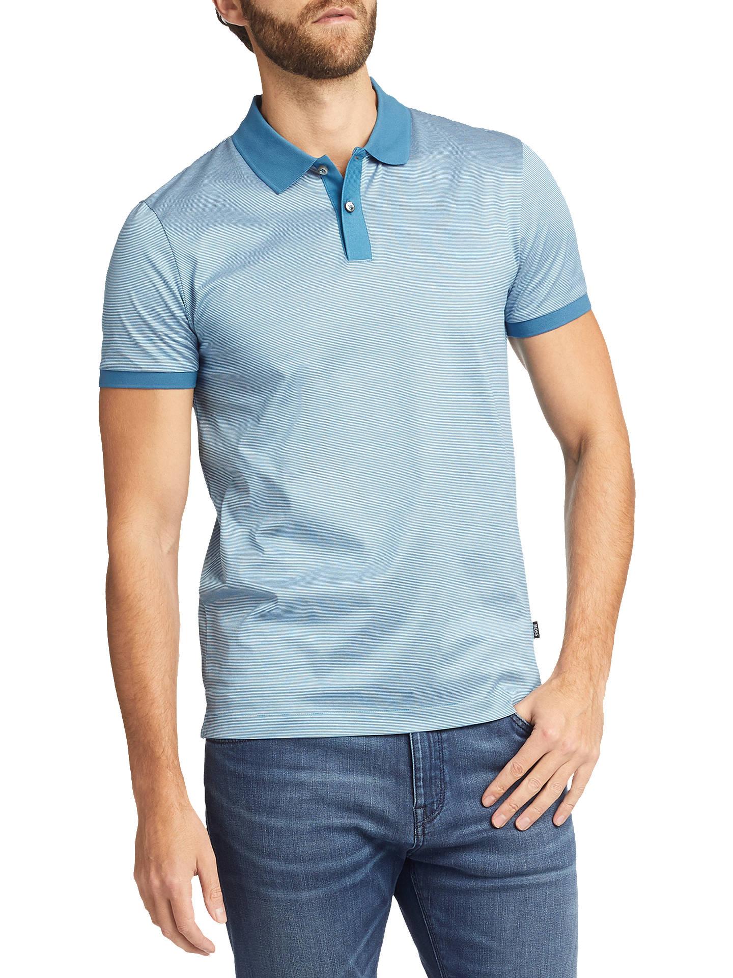 f817de0c9 Buy BOSS Phillipson Short Sleeve Polo Shirt, Turquoise/Aqua, S Online at  johnlewis ...