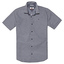 Buy Tommy Jeans Short Sleeve Printed Shirt, Blue Online at johnlewis.com
