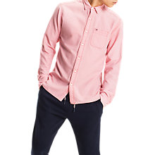 Buy Tommy Jeans Dobby Long Sleeve Shirt, Red Online at johnlewis.com