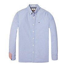 Buy Tommy Jeans Regular Fit Long Sleeve Check Seersucker Shirt, Nautical Blue Online at johnlewis.com