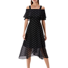 Buy Coast Nadine Spot Bardot Midi Dress, Black/White Online at johnlewis.com