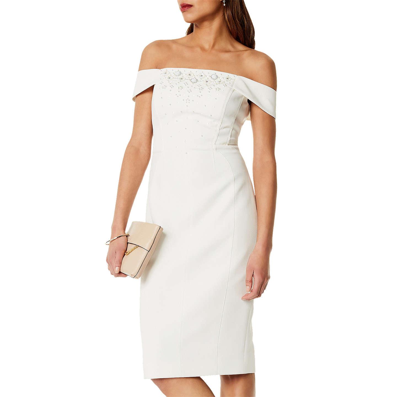 Karen Millen Beaded Bardot Dress, Ivory at John Lewis