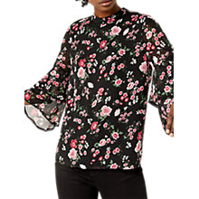 Buy Warehouse Blossom Garden Top, Black Multi Online at johnlewis.com