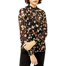 Buy Warehouse Sweet Cherry Tie Back Top, Black Pattern Online at johnlewis.com