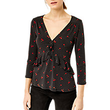 Buy Warehouse Cherry Spot Print Jersey Top, Black/Multi Online at johnlewis.com