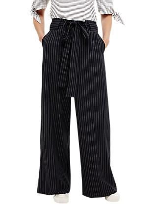 Phase Eight Lydia Stripe Wide Leg Trousers, Navy/Ivory