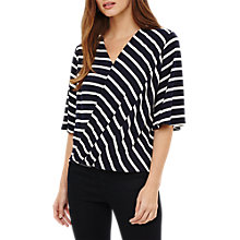 Buy Phase Eight Willa Wrap Front Stripe Top, Navy/Ivory Online at johnlewis.com